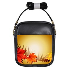 Background Leaves Dry Leaf Nature Girls Sling Bags
