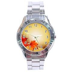 Background Leaves Dry Leaf Nature Stainless Steel Analogue Watch