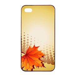 Background Leaves Dry Leaf Nature Apple iPhone 4/4s Seamless Case (Black)