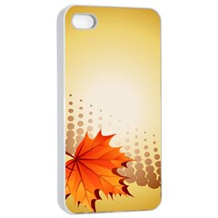 Background Leaves Dry Leaf Nature Apple iPhone 4/4s Seamless Case (White)