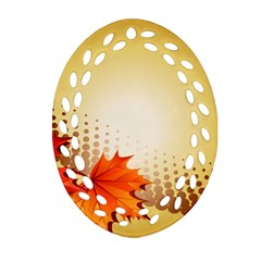 Background Leaves Dry Leaf Nature Oval Filigree Ornament (Two Sides)