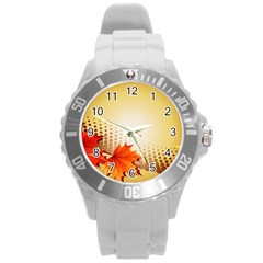 Background Leaves Dry Leaf Nature Round Plastic Sport Watch (l)