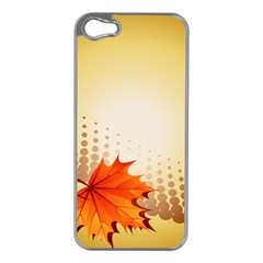 Background Leaves Dry Leaf Nature Apple iPhone 5 Case (Silver)