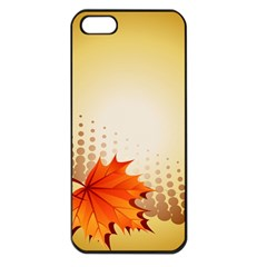 Background Leaves Dry Leaf Nature Apple iPhone 5 Seamless Case (Black)