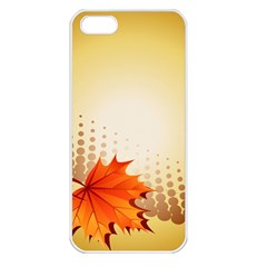 Background Leaves Dry Leaf Nature Apple iPhone 5 Seamless Case (White)