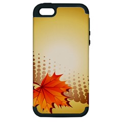 Background Leaves Dry Leaf Nature Apple iPhone 5 Hardshell Case (PC+Silicone)