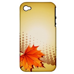 Background Leaves Dry Leaf Nature Apple iPhone 4/4S Hardshell Case (PC+Silicone)