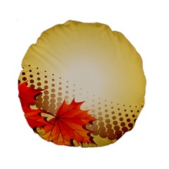 Background Leaves Dry Leaf Nature Standard 15  Premium Round Cushions