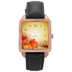 Background Leaves Dry Leaf Nature Rose Gold Leather Watch