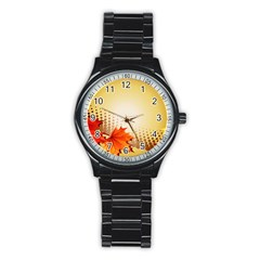 Background Leaves Dry Leaf Nature Stainless Steel Round Watch