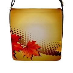 Background Leaves Dry Leaf Nature Flap Messenger Bag (L)