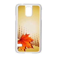 Background Leaves Dry Leaf Nature Samsung Galaxy S5 Case (White)