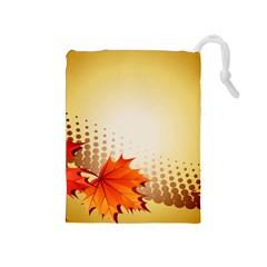 Background Leaves Dry Leaf Nature Drawstring Pouches (Medium)