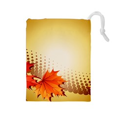 Background Leaves Dry Leaf Nature Drawstring Pouches (Large)