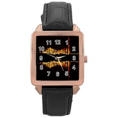 Waste Incineration Incinerator Rose Gold Leather Watch