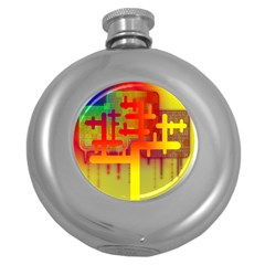 Binary Binary Code Binary System Round Hip Flask (5 Oz)