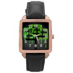 Binary Binary Code Binary System Rose Gold Leather Watch