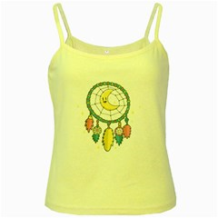 Cute Hand Drawn Dreamcatcher Illustration Yellow Spaghetti Tank