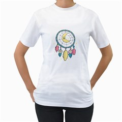 Cute Hand Drawn Dreamcatcher Illustration Women s T-Shirt (White) (Two Sided)
