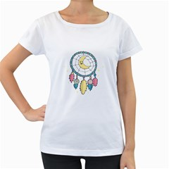 Cute Hand Drawn Dreamcatcher Illustration Women s Loose-Fit T-Shirt (White)
