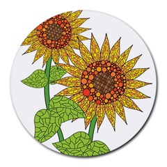 Sunflowers Flower Bloom Nature Round Mousepads