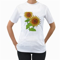 Sunflowers Flower Bloom Nature Women s T-Shirt (White) (Two Sided)