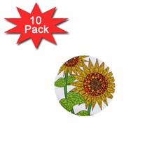 Sunflowers Flower Bloom Nature 1  Mini Buttons (10 pack)