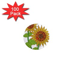 Sunflowers Flower Bloom Nature 1  Mini Magnets (100 pack)