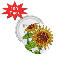 Sunflowers Flower Bloom Nature 1.75  Buttons (100 pack)