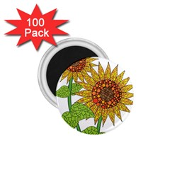 Sunflowers Flower Bloom Nature 1 75  Magnets (100 Pack)