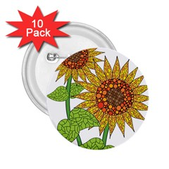 Sunflowers Flower Bloom Nature 2 25  Buttons (10 Pack)