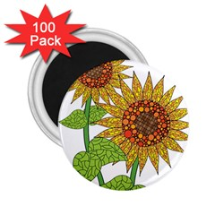 Sunflowers Flower Bloom Nature 2.25  Magnets (100 pack)