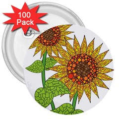 Sunflowers Flower Bloom Nature 3  Buttons (100 Pack)