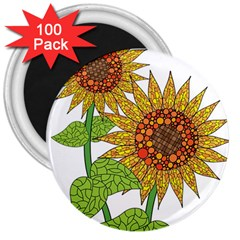 Sunflowers Flower Bloom Nature 3  Magnets (100 pack)
