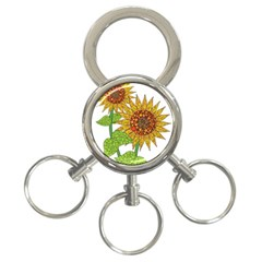 Sunflowers Flower Bloom Nature 3 Ring Key Chains