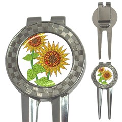 Sunflowers Flower Bloom Nature 3-in-1 Golf Divots