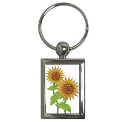 Sunflowers Flower Bloom Nature Key Chains (rectangle)
