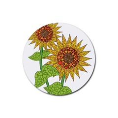 Sunflowers Flower Bloom Nature Rubber Round Coaster (4 Pack)