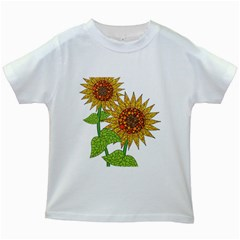 Sunflowers Flower Bloom Nature Kids White T Shirts