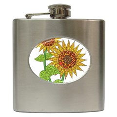 Sunflowers Flower Bloom Nature Hip Flask (6 Oz)