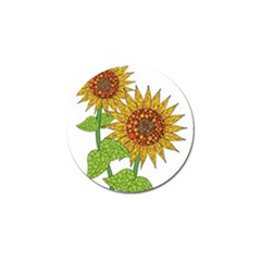 Sunflowers Flower Bloom Nature Golf Ball Marker