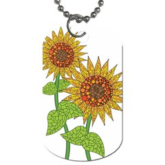 Sunflowers Flower Bloom Nature Dog Tag (two Sides)