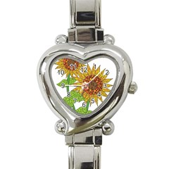 Sunflowers Flower Bloom Nature Heart Italian Charm Watch