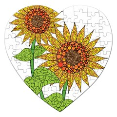 Sunflowers Flower Bloom Nature Jigsaw Puzzle (heart)