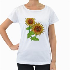 Sunflowers Flower Bloom Nature Women s Loose-Fit T-Shirt (White)