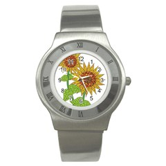 Sunflowers Flower Bloom Nature Stainless Steel Watch