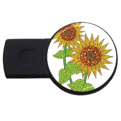 Sunflowers Flower Bloom Nature USB Flash Drive Round (4 GB)