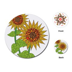 Sunflowers Flower Bloom Nature Playing Cards (round)