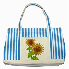 Sunflowers Flower Bloom Nature Striped Blue Tote Bag