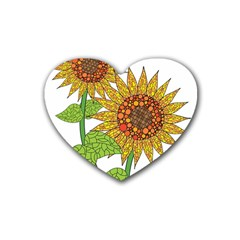 Sunflowers Flower Bloom Nature Rubber Coaster (heart)